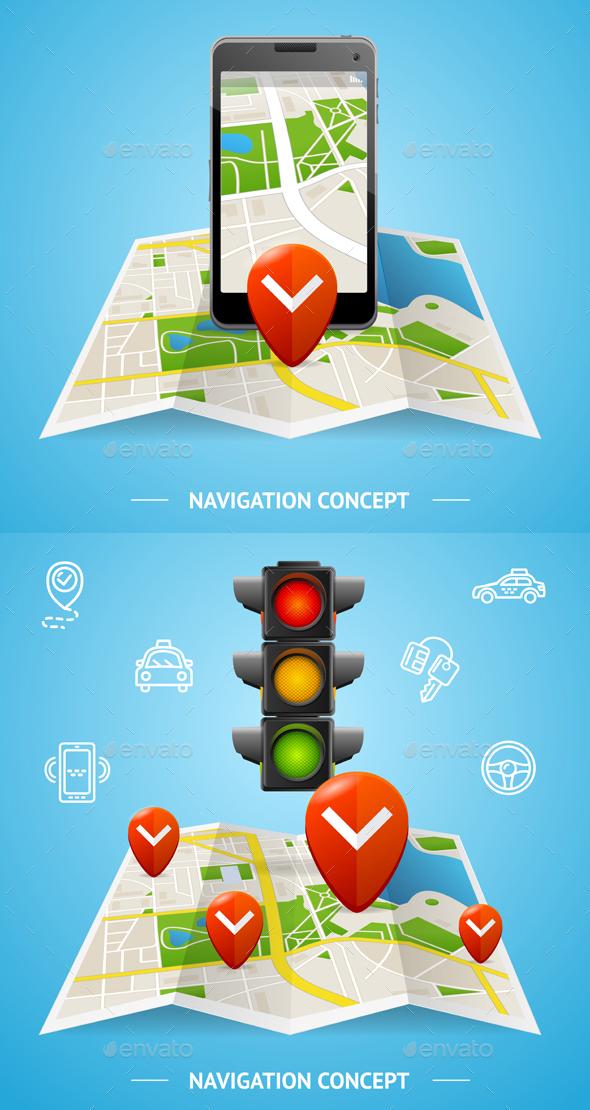 Navigation Concept Card or Poster. Vector - Conceptual Vectors