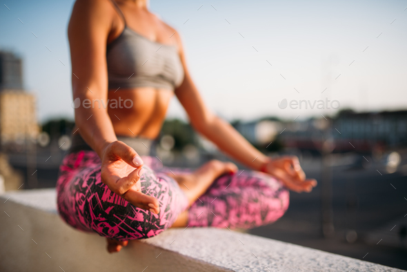 Female person, relaxation in yoga pose - Stock Photo - Images