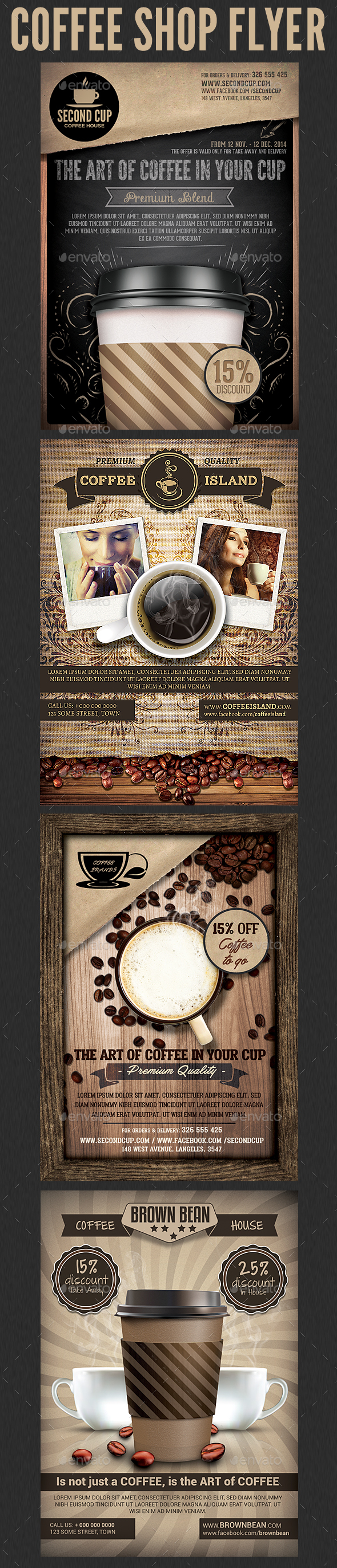 Coffee Shop Promotion Flyer Template Bundle - Flyers Print Templates