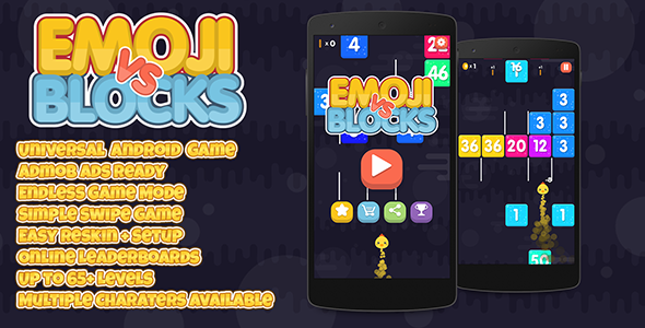 Emoji vs Blocks + Admob (Android Studio + Eclipse) Easy Reskin - CodeCanyon Item for Sale