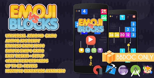 Emoji vs Blocks Buildbox (BBDOC + Android Studio + Eclipse + Xcode) - CodeCanyon Item for Sale