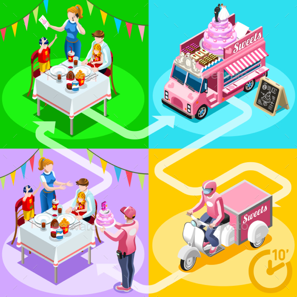 Food Truck Birthday Cake Home Delivery Vector Isometric People - Vectors