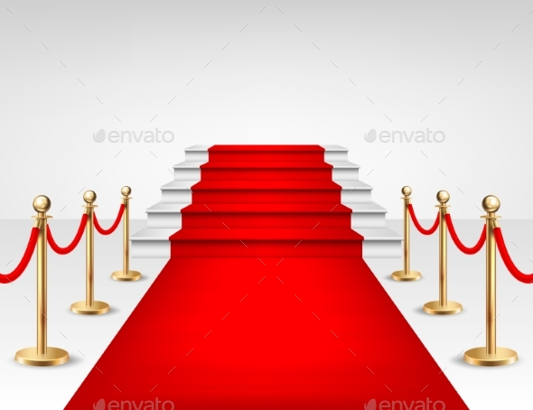 Realistic Vector Red Event Carpet, Gold Barriers - Miscellaneous Seasons/Holidays