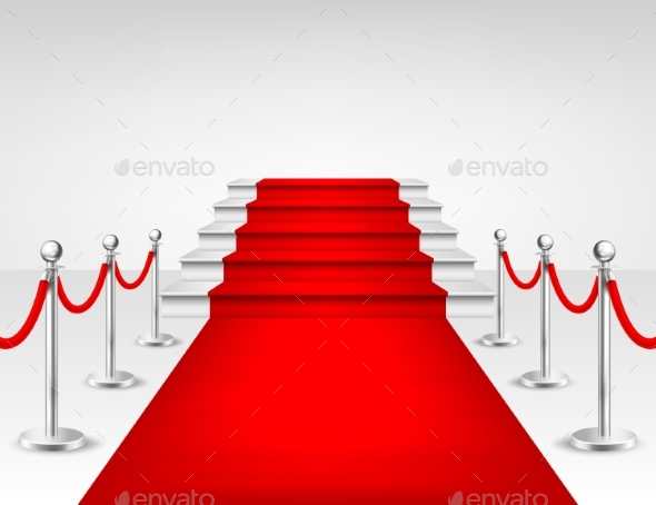 Realistic Vector Red Event Carpet, Silver Barriers - Miscellaneous Seasons/Holidays