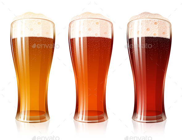 Beer Glass Varieties Porter Dark Red Light Lager Foam Set - Food Objects