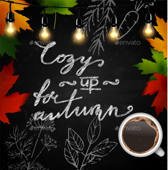 Chalkboard with Autumn Leaves - Backgrounds Decorative
