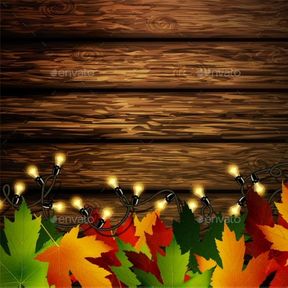 Wooden Wall with Autumn Leaves - Backgrounds Decorative
