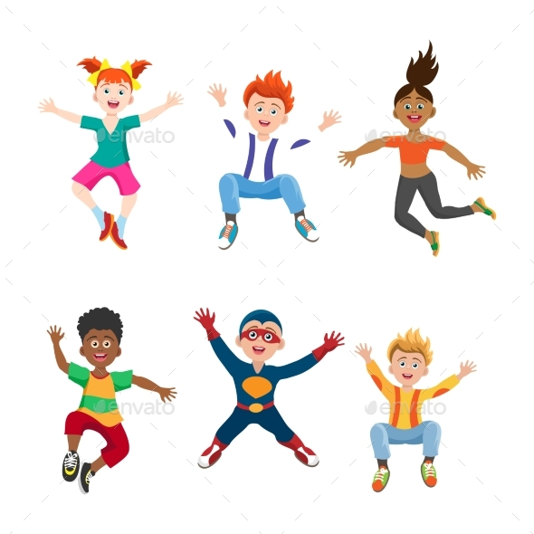 Happy Jumping Kids on White Background - People Characters