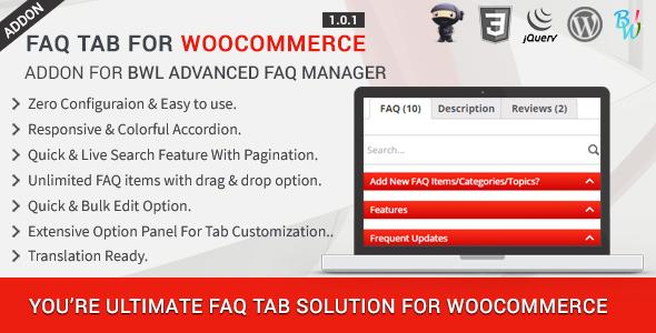 FAQ Tab For WooCommerce - Advanced FAQ Addon - CodeCanyon Item for Sale
