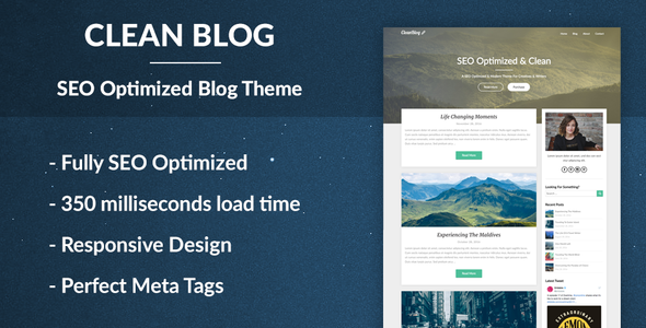 Clean Blog - SEO Optimized WordPress Theme