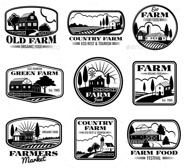 Vintage Farm Marketing Vector Logos and Labels Set - Decorative Symbols Decorative