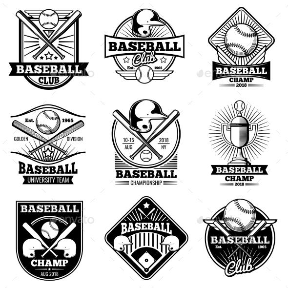 vintage baseball vector labels and emblemsmicrovone | graphicriver