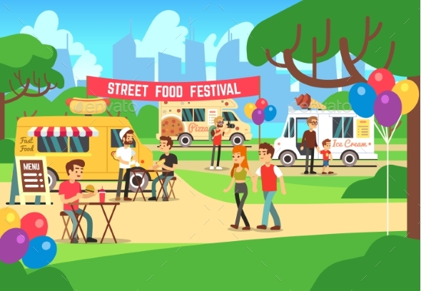 Cartoon Street Food Festival with People - Miscellaneous Vectors