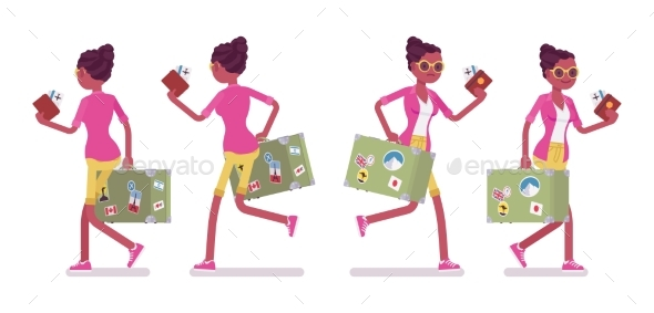 Female Tourist Walking and Running - Travel Conceptual