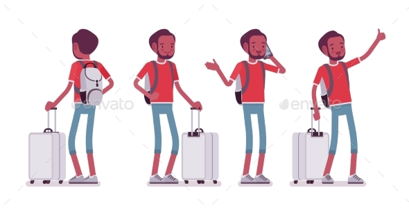 Male Tourist Standing - Travel Conceptual