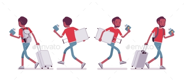 Male Tourist Walking and Running - Travel Conceptual