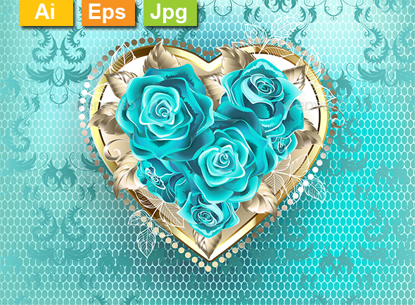 Jewelry Heart with Turquoise Roses - Decorative Symbols Decorative