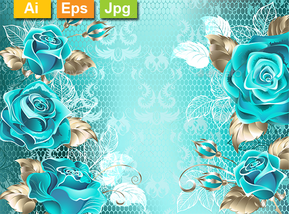 Lacy Background with Turquoise Roses - Backgrounds Decorative