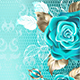 Lacy Background with Turquoise Roses