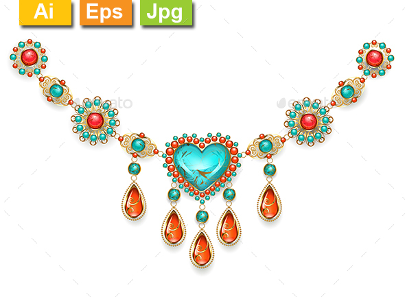 Necklace with Turquoise Heart - Man-made Objects Objects