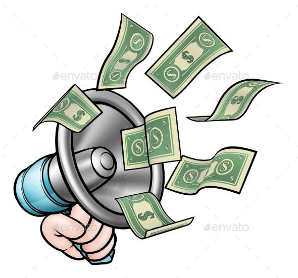 Megaphone Money Concept - Miscellaneous Vectors