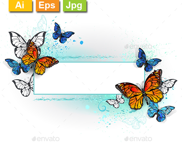 Rectangular Banner with Butterflies Monarchs - Borders Decorative