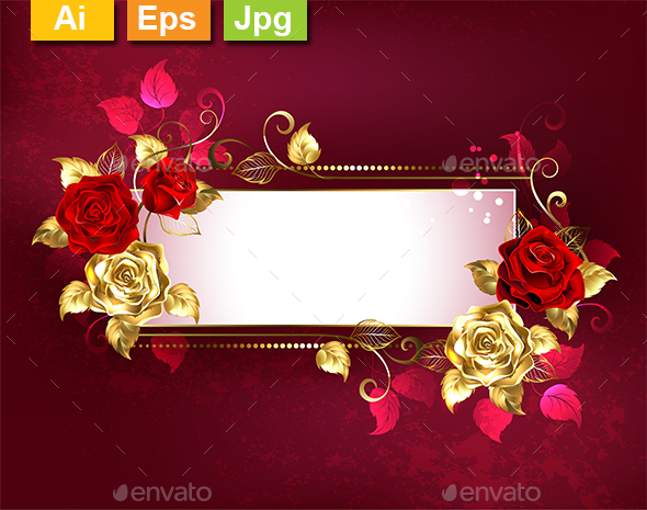 Rectangular Banner with Red Roses - Borders Decorative