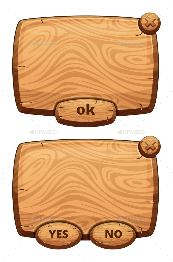 Different Wooden Panels for Game. Cartoon Vector - Objects Vectors