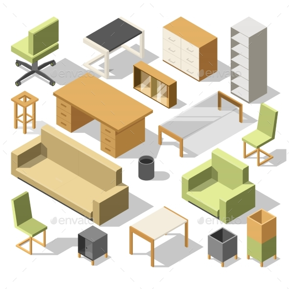 Isometric Office Furniture. 3d Cabinet with Table - Objects Vectors