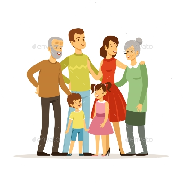 Vector Illustration of Big Family with Mother - People Characters