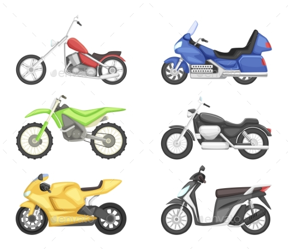 Chopper, Cruiser Sport Bike and Others Types - Objects Vectors