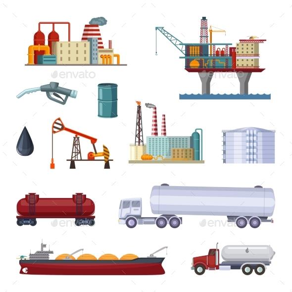 Oil Exploration. Petroleum Factory with Platforms - Buildings Objects