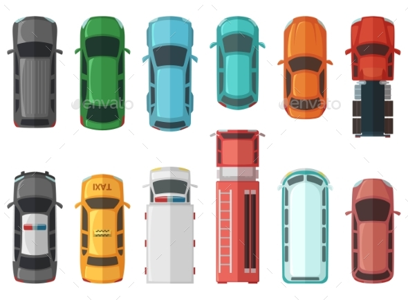 Pictures of Transportation Top View. - Objects Vectors