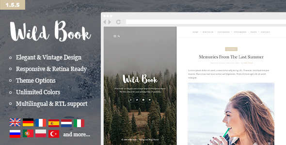 Wild Book - Vintage, Elegant & Summer WordPress Personal Blog Theme (Multilingual, RTL support)