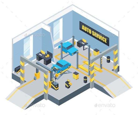 Interior of Auto Service with Different Tools - Miscellaneous Vectors