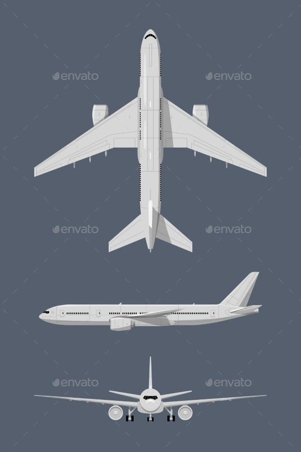 Different Sides of Modern Airplane. Vector - Objects Vectors