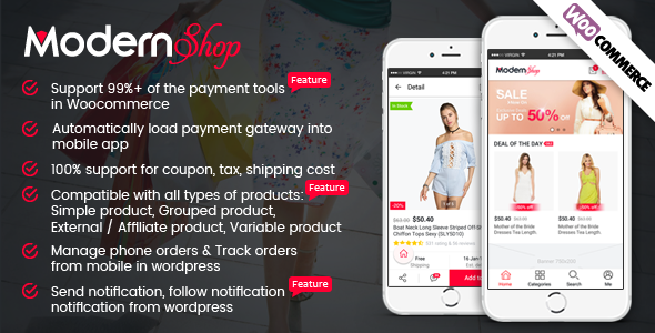CodeCanyon Full Mobile Woocommerce App for Woocommerce Store ModernShop 20417299