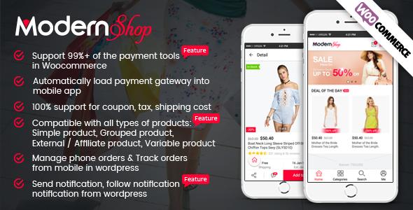 Full Mobile Woocommerce App for Woocommerce Store - ModernShop Best Scripts