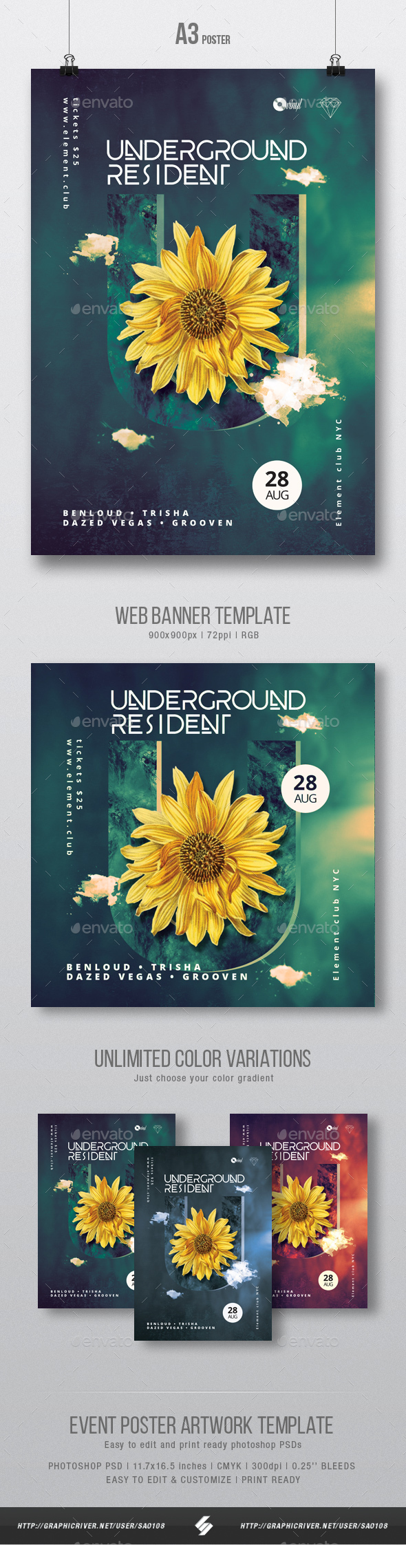 Underground Resident - Progressive Party Flyer / Poster Artwork Template A3 - Clubs & Parties Events