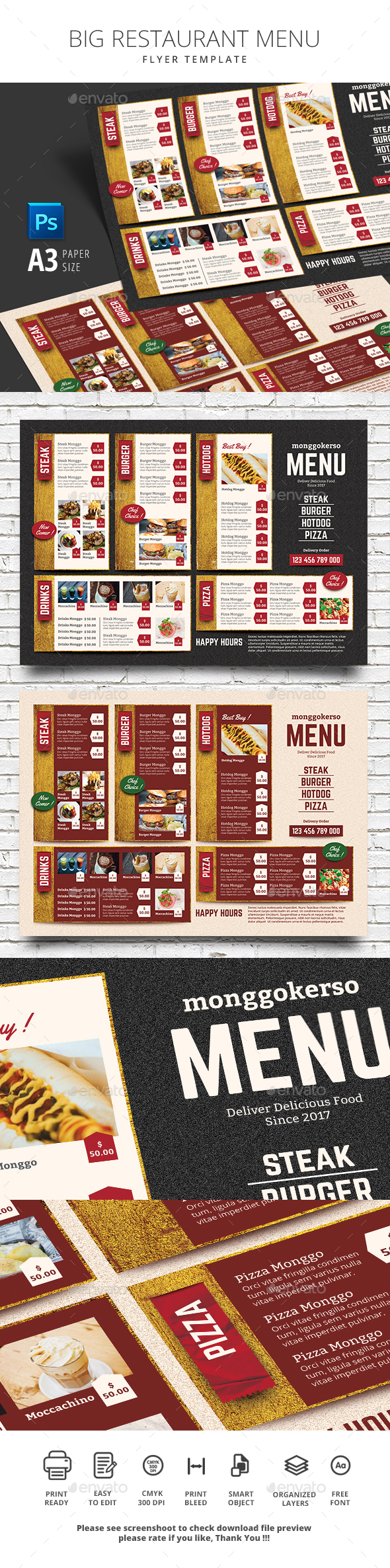 Big Restaurant Menu - Food Menus Print Templates
