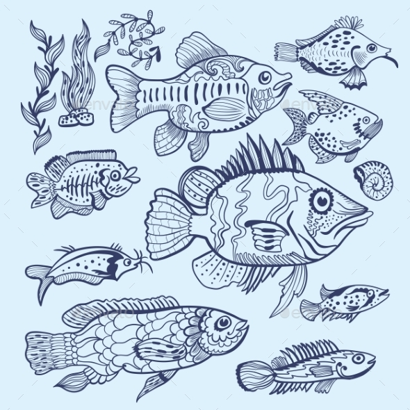 Vector Fish Sketch Set - Animals Characters