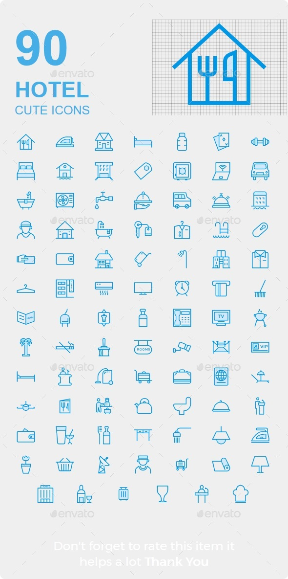 GraphicRiver Hotel & Resturent Cute style icons 20417795