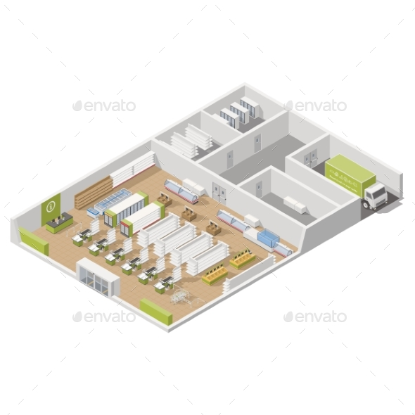 Grocery Supermarket with Storage Rooms and Goods - Miscellaneous Vectors