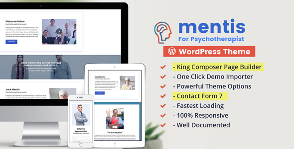 Psychologist- WordPress Theme Mentis for Therapists, Psychiatrists & Life coaches - Health & Beauty Retail