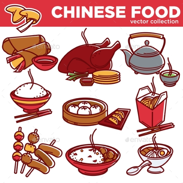 GraphicRiver Chinese Cuisine Food Dishes Vector Flat Icons Set 20418028