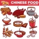 Chinese Cuisine Food Dishes Vector Flat Icons Set