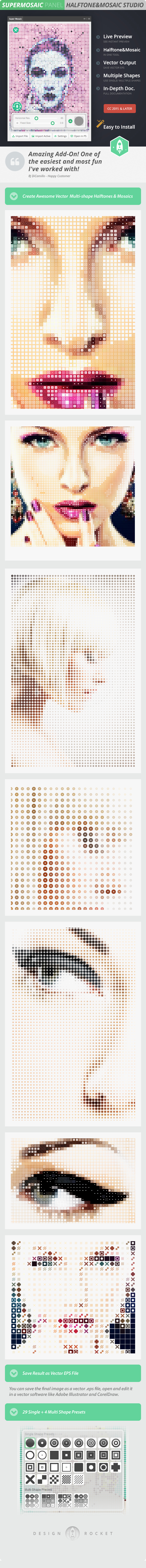 GraphicRiver SuperMosaic Awesome Multip-Shape Halftones and Mosaics 15373306