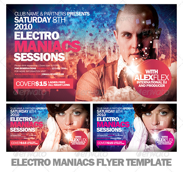 Electro Maniacs Flyer Template - Clubs & Parties Events