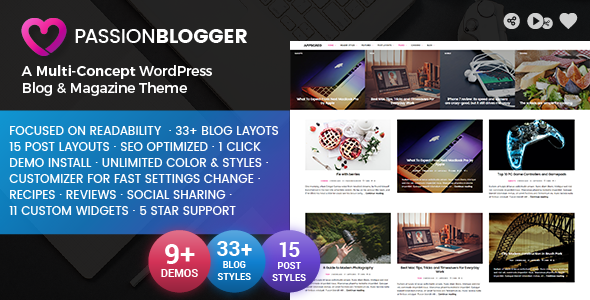 ThemeForest Passion Blogger A Responsive WordPress Theme 20106688