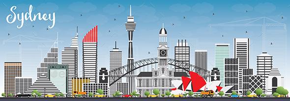 Sydney Australia Skyline with Gray Buildings and Blue Sky. - Buildings Objects